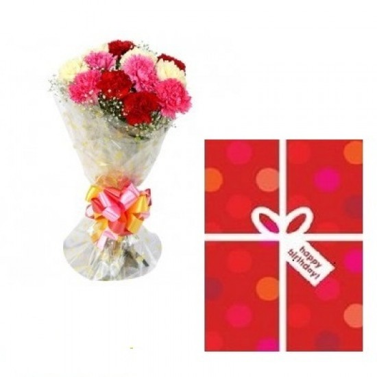 12 COLORFUL CARNATIONS WITH OCCASIONAL CARD