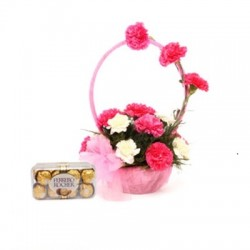 Pink N White Basket Of Flavours LV