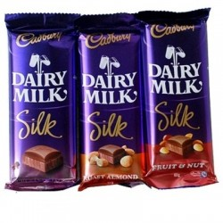 Dairy Milk Silk 3 Pc Each 55 Gms ( WILL DELIVER WITH FLOWER OR CAKE ONLY )