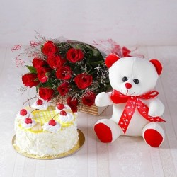 Red Roses With Cake And Teddy