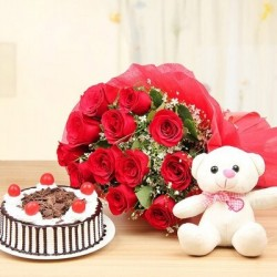 12 RED COLORFUL ROSES WITH TEDDY BEAR