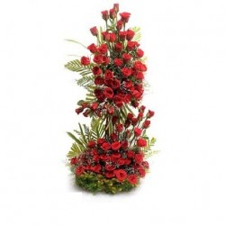 Designer Tall Arrangement of 80 Red Roses